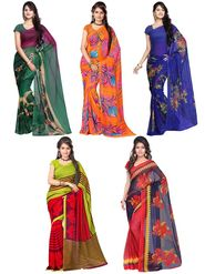 Combo of 5 Adah Fashions Georgette Printed Saree -ad04