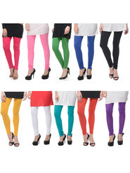 Combo of 10 Lavennder Solid Cotton Lycra Leggings