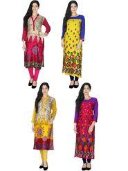 Pack of  4 Arisha Rayon Printed Long Straight Kurtas -Cm1