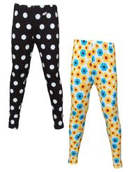 Pack of 2 Little Star Girl's Multicolor Leggings - WN_3203