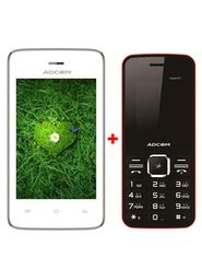 Combo of Adcom T 35 Smartphone (White) + Adcom 121 Feature Phone (Black & Red)