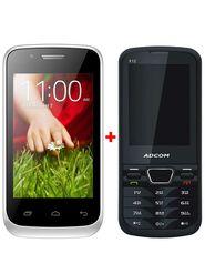 Combo of Adcom A 35 3G SmartPhone (White) + Adcom X12 Feature Phone (Black)