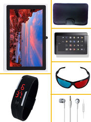 Combo of Vizio White Tablet, 8GB, 3G + Earphone +  Tab Screen Protector + Tab SoftCase + Black LED Watch + 3D Cool Glass