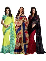 Pack of 3 Shonaya Printed Sarees - 3L-COMBO