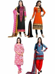 Combo of 4 Thankar Printed Polycotton Dress Material
