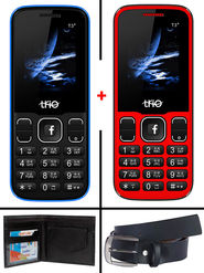 Combo of Trio Dual SIM Feature Phone (T3 Star - Royal Blue + T3 Star - Red) with Belt and Wallet