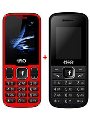 Combo of Trio Dual SIM Feature Phone (T4 Star - Red + T3 Star - Red)