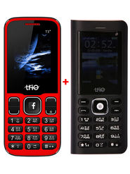Combo of Trio ( T5000 Powerbank cum Feature Phone - Black + T3 Star - Red )