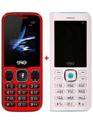 Combo of Trio ( T5000 Powerbank cum Feature Phone - White + T3 Star - Red )