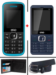 Combo of Trio Dual SIM Feature Phone (T5 Star + T4 - Royal Blue) with Belt and Wallet