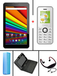 Combo of  I Kall N1 3G Calling Tablet -White + K66 Feature Phone -White + Universal Keyboard + 2600 mAh Powerbank + Neckband for Music & Sport