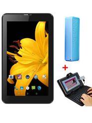 Combo of I Kall N2 3G Calling Tablet (Black) + 2600 mAh Powerbank + Universal Keyboard
