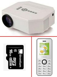 Combo of Vox VP01 150 Lumens LED Projector + I Kall K66 Feature Phone Mobile (White) + 16GB Strontium Memory Card