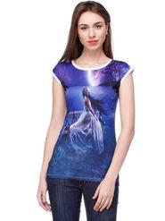 Lavennder Printed Polyester Blue Top -Lw5418