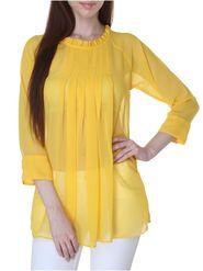 Lavennder Plain Georgette Yellow Top -Lw5414