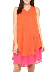 Lavennder Plain Georgette Orange Top -Lw5469