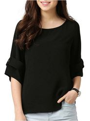 Lavennder Plain Crepe Black Top -Lw5470