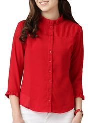 Lavennder Plain Crepe Red Top -Lw5484
