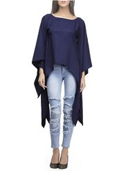 Lavennder Plain Crepe Navy Blue Top -Lw5449