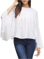 Lavennder Plain Georgette White Top -Lw5450