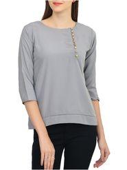 Lavennder Plain Crepe Grey Top -Lw5457