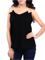 Lavennder Plain Georgette Black Top -Lw5459