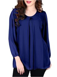 Lavennder Plain Crepe Navy Blue Top -Lw5462
