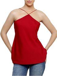Lavennder Plain Crepe Red Top -Lw5464