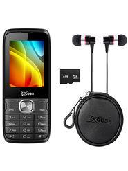 Combo of Xccess X205 Dual Sim Mobile + 4GB Memory Card + Earphone + Earphone Pouch