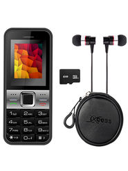 Combo of Xccess X499 Dual Sim Mobile + 4GB Memory Card + Earphone + Earphone Pouch