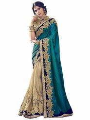 Indian Women Emboridered Satin Silk Peacock Green & Beige Designer Saree_Ht51207