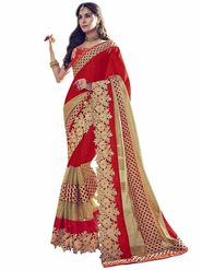 Indian Women Emboridered Satin Georgette Red & Golden Designer Saree_Ht51211