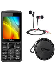 Combo of Xccess Dual Sim Mobile + Earphone + Earphone Pouch (Black)