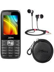 Combo of Xccess Dual Sim Mobile + Earphone + Earphone Pouch (Grey)