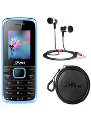 Combo of Xccess Dual Sim Mobile + Earphone + Earphone Pouch (Blue)