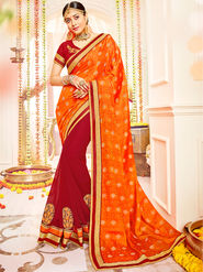 Indian Women Embroidered With Heavy Border Designer Saree_Ga20601 - Orange & Red