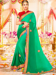 Indian Women Embroidered With Heavy Border Designer Saree_Ga20602 - Sea Green