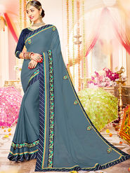 Indian Women Embroidered With Heavy Border Designer Saree_Ga20605 - Grey
