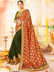 Indian Women Embroidered With Heavy Border Designer Saree_Ga20606 - Orange & Green
