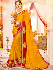 Indian Women Embroidered With Heavy Border Designer Saree_Ga20607 - Orange