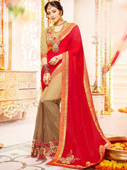Indian Women Embroidered With Heavy Border Designer Saree_Ga20609 - Red & Beige