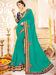 Indian Women Embroidered With Heavy Border Designer Saree_Ga20610 - Green