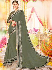Indian Women Embroidered With Heavy Border Designer saree_Ga20611 - Grey