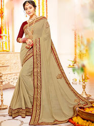 Indian Women Embroidered With Heavy Border Designer Saree_Ga20613 - Beige