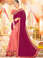 Indian Women Embroidered With Heavy Border Designer Saree_Ga20615 - Magenta & Pink