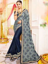 Indian Women Embroidered With Heavy Border Designer Saree_Ga20617 - Grey