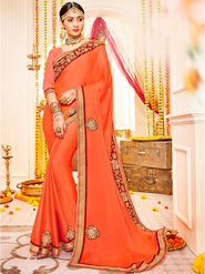 Indian Women Embroidered With Heavy Border Designer Saree_Ga20619 - Orange