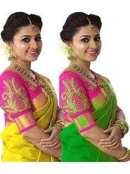 Combo of 2 Bhuwal Fashion Bhagalpuri Silk Sarees_cm14 - Yellow & Green