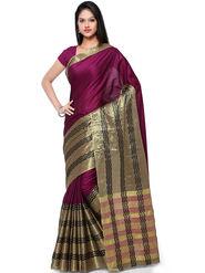 Nanda Silk Mills Cotton Silk Traditional Saree With Unstitched Blouse Piece _ Purple