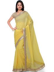 Nanda Silk Mills Pure Chiffon Embroidery Traditina Saree With Unstitched Blouse Piece _ Yellow